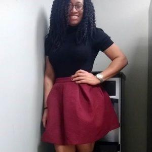 Burgundy Pleated Skirt